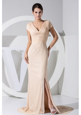 Slit Short Sleeves Champagne V-neck Prom Dress Brush