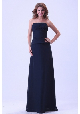 Navy Bridesmaid Dresses Ruched Floor Length