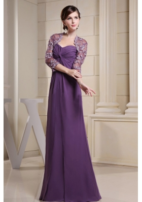 Lace Jacket Mother Bride Dress Ruch Purple Long