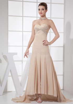Champagne Beading Applique Bust Prom Dress Brush
