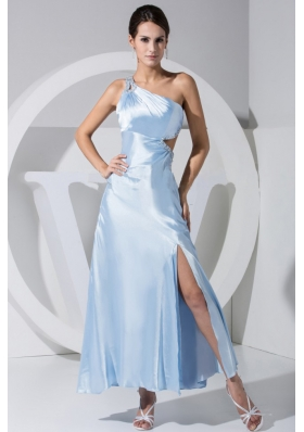 Side Cutout Slit Beading Ankle-length Prom Dress