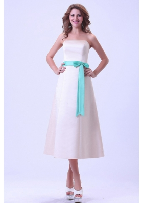 Bridemaid Dress Turquoise SashTea-length Strapless