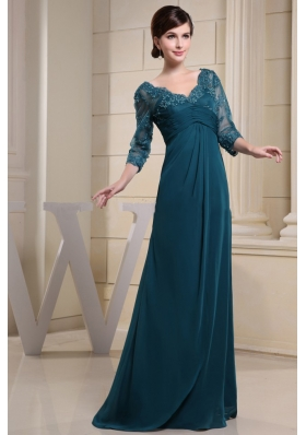 Lace 3 4 Sleeves V Neck Mother Bride Dress Teal