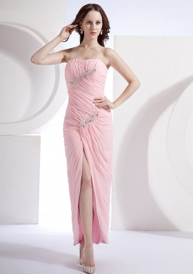 Beading Column Beading Ankle-length Prom Dress Pink