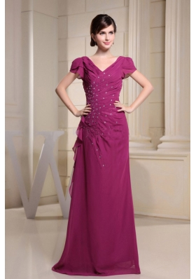 V-neck Short Sleeves Mother Bride Dress Beading