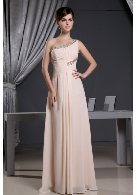 Asym One Shoulder Baby Pink Beading Prom Dress