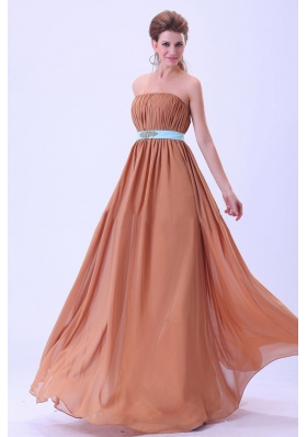 Rust Red Bridesmaid Dresses Blue Belt Ruching