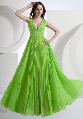 Deep V-neck Floor-length Waistband Pleated Prom Dress
