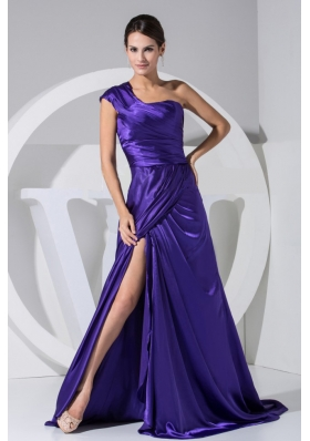 One Shoulder High Slit Purple Brush Prom Dress