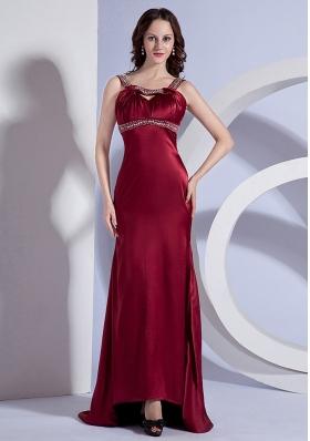 Open Back Beading Straps Burgundy Brush Prom Dress