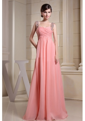 Beaded Straps Ruch Prom Dress Long Pink