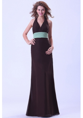 Halter Tied Back Bridesmaid Dresses Belt Backless