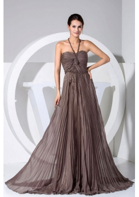 Halter Pleating Throughout Brown Brush Prom Dress
