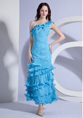 Floral One Shoulder Aqua Ankle-length Prom Dress