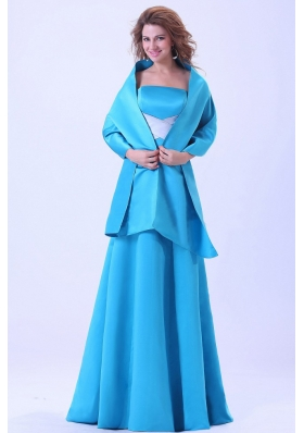 Matching Shawl Blue Bridesmaid Dresses Brush A-line