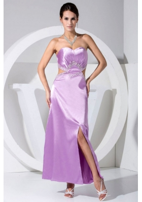 Beading Slit Sweetheart Ankle-length Lavender Prom Dress