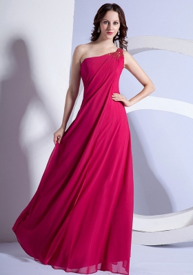 Beading One Shoulder Prom Dress Hot Pink Long