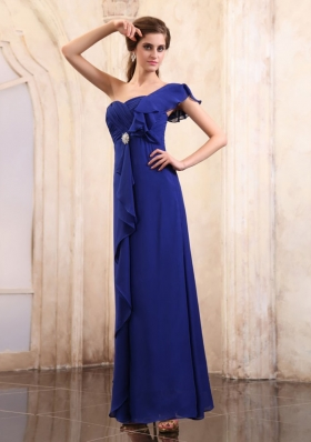 Royal Mother Bride Dress One Shoulder Ankle-length