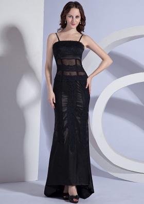 Lace Spaghetti Straps Column Black Prom Dress