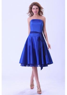 Royal Blue Bridesmaid Dresses With Sash Tea-length