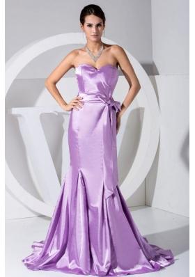 Lavender Sweetheart Bowknot Mermaid Brush Prom Dress