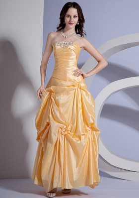 Ruffles Ruched Appliques Yellow Ankle-length Prom Dress
