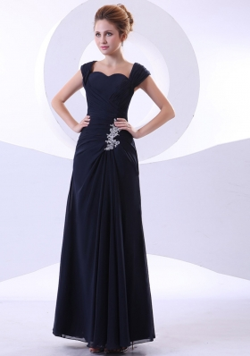 Appliques Ankle-length Straps Navy Blue Mother Bride Dress