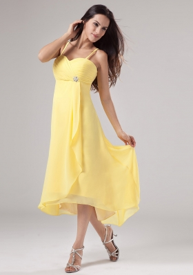 Yellow Spaghetti Straps Prom Dress Beading Ruch