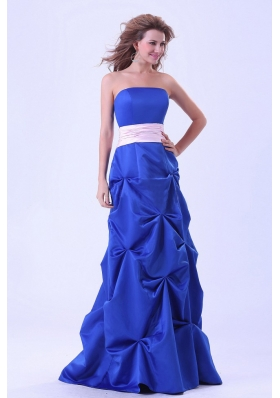 Blue Bridesmaid Dresses Pink Sash Pick-ups Long