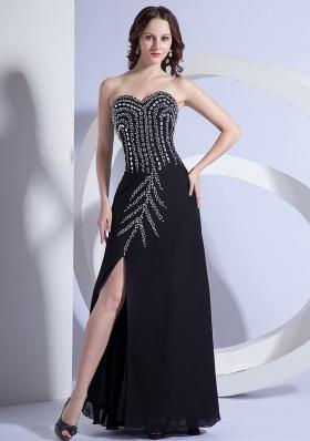 Beading Pattern High Slit Black Floor-length Prom Dress