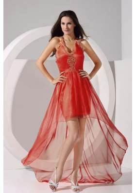 Halter Embroidery X Shaped Back High-low Prom Dress