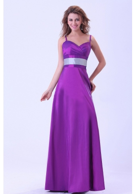 Purple Bridesmaid Dresses Belt Long Spaghetti Straps