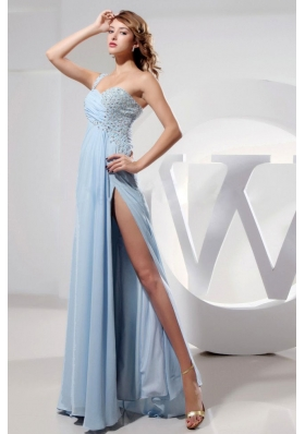 Light Blue One Shoulder High Slit Prom Dress Beading