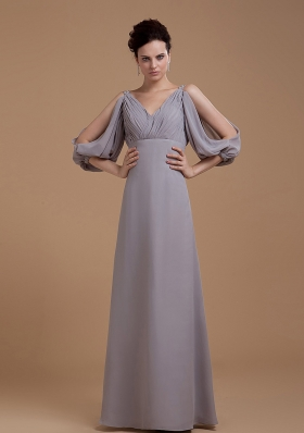 Grey Mother Bride Dress open Puffy 3/4 Length Sleeves