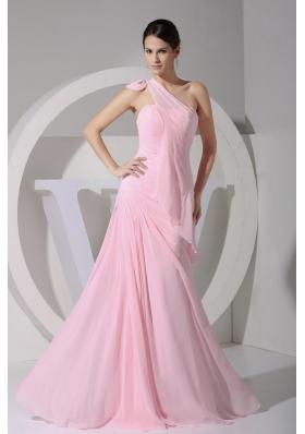 Asym One Shoulder Pink Chiffon Floor-length Prom Dress