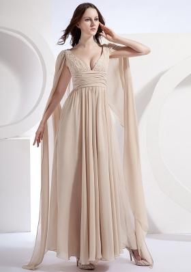 Watteau Empire V-neck Chiffon Prom Dress Pleating