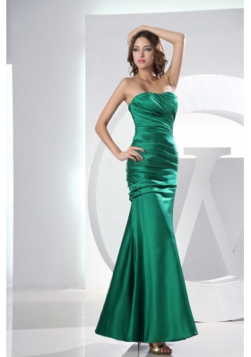 Mermaid Green Ruched Ankle-length Prom Dress