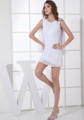 Scoop Mini Ribbon Back White Straps Prom Dress