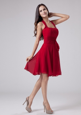 Red Halter Knee-length Pleating Prom Dress Party