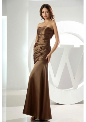 Mermaid Strapless Brown Ankle-length Prom Dress