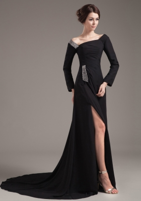 Slit Off Shoulder Brush Long Sleeves Mother Bride Dress