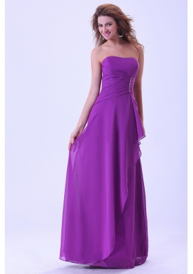 Handkerchief Front Purple Bridemaid Dress Floor-length