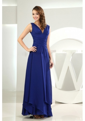 Sheath V-neck Royal Blue Ankle-length Prom Dress