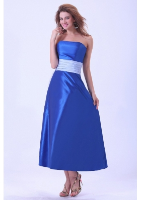 Royal Blue Bridemaid Dress Sash Tea-length Taffeta