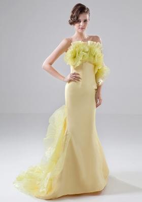 Flowers Besiged Prom Dress Sweep Mermaid Yellow