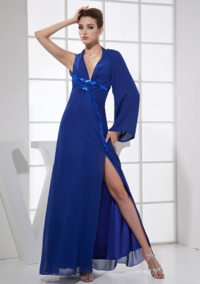 High Slit V-neck Blue Prom Dress Long Sleeve