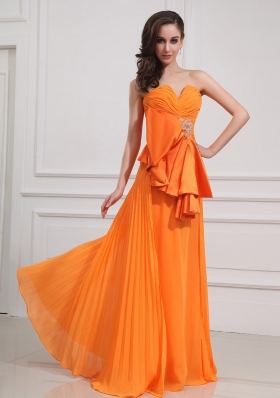 Pleating Beading Floor-length Empire Ruched Prom Dress