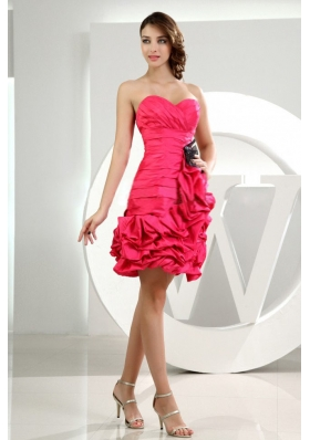 Winding Ruffles Column Sweetheart Mini Prom Dress