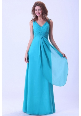 Aqua Bridesmaid Dresses V-neck Floor-length Straps