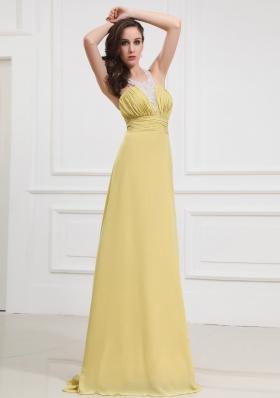 Halter Column Prom Dress Long Yellow Criss Cross
